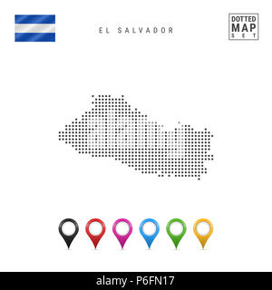 El Salvador outline silhouette map illustration with ...