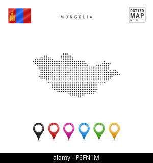 Dotted Map of Mongolia. Simple Silhouette of Mongolia. The National Flag of Mongolia. Set of Multicolored Map Markers. Illustration Isolated on White  - Stock Photo