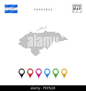 Dotted Map of Honduras. Simple Silhouette of Honduras. The National Flag of Honduras. Set of Multicolored Map Markers. Illustration Isolated on White  - Stock Photo