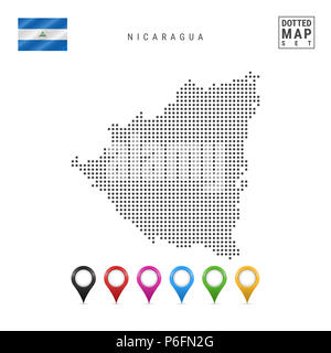 Dotted Map of Nicaragua. Simple Silhouette of Nicaragua. The National Flag of Nicaragua. Set of Multicolored Map Markers. Illustration Isolated on Whi - Stock Photo