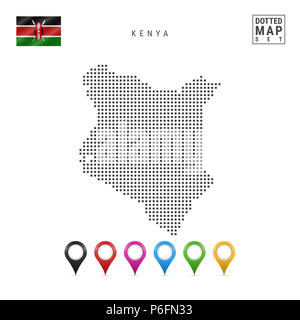 Dotted Map of Kenya. Simple Silhouette of Kenya. The National Flag of Kenya. Set of Multicolored Map Markers. Illustration Isolated on White Backgroun - Stock Photo