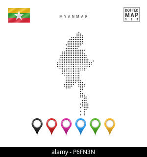 Dotted Map of Myanmar. Simple Silhouette of Myanmar. The National Flag of Myanmar. Set of Multicolored Map Markers. Illustration Isolated on White Bac - Stock Photo