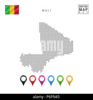 Dotted Map of Mali. Simple Silhouette of Mali. The National Flag of Mali. Set of Multicolored Map Markers. Illustration Isolated on White Background. - Stock Photo