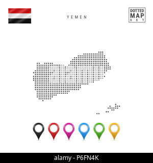 Dots Pattern Map of Yemen. Stylized Simple Silhouette of Yemen. The National Flag of Yemen. Set of Multicolored Map Markers. Illustration Isolated on  - Stock Photo
