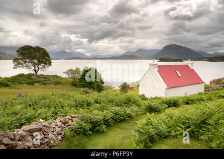 Cottage With Red Roof Shieldaig Scotland Stock Photo Alamy