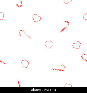 Seamless pattern Christmas candy caramel spirals and hearts lollypops on white background, vector, eps 10 - Stock Photo