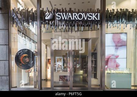 Milan, Italy - August 10, 2017: Swarovski shop in an exclusive area of Milan, corso Vittorio Emanuele II (near Piazza Duomo) - Stock Photo