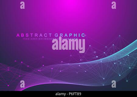 Geometric abstract background with connected lines and dots. Wave flow. Molecule and communication background. Graphic background for your design. Vector illustration. - Stock Photo