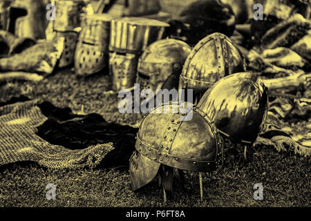 Detail of ancient medieval armor, reproduction of protective clothing to fight, crusades, war - Stock Photo