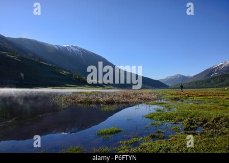 Gorgeous northern scenery at Kanas Lake National Park, Xinjiang, China - Stock Photo