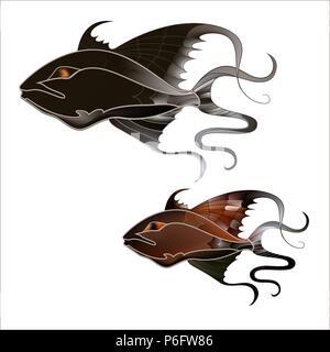 Fabulous illustration of a fantastic marine fish delicate purple shades - Stock Photo