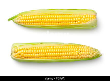 Corn ears isolated on white background. Top view - Stock Photo