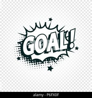 Goal icon comics cloud with halftone shadow, goal shout text in bubble, funnies stylized on transparency background. Soccer, football design element, logo template, isolated illustration. - Stock Photo