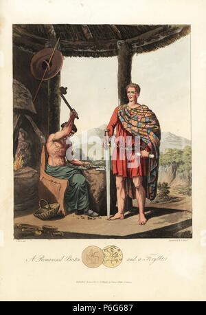 A Romanised Briton and a Feryllt, a metallurgist, chemist and botanist. The Briton in a plaid cloak and sagum, carrying a two-handed sword, cleddyv deuddwrn. Feryllt in green robe holding hammer and tongs before an anvil. Handcoloured aquatint by R. Havell from an illustration by Charles Hamilton Smith from Samuel Meyrick's Costume of the Original Inhabitants of the British Islands, London, 1821. - Stock Photo