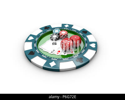 3d Illustration of Cubes for poker, casino chips and poker cards. - Stock Photo