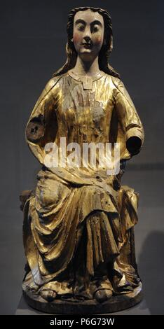 Gothic art. Mary in the seat of wisdom. Maasgebied, 1240. Museum Catharijneconvent. Utrecht. Netherlands. - Stock Photo