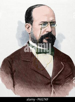 Eduardo Leon y Ortiz (19th century). Spanish professor at the Faculty of Sciences of the Central University. Engraving. La Ilustracion Espanola y Americana, 1892. Colored. - Stock Photo