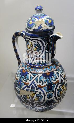 Ewer. Glazed. Kutahya. 19th-20th centuries. Tiled Kiosk Museum. Archaeological Museum. Istanbul. Turkey. - Stock Photo
