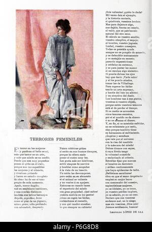 1901-10-19, Blanco y Negro, Terrores femeniles, Leopoldo López de Saá y Cecilio Pla. - Stock Photo