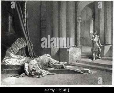 Historia de España. Asesinato de Vimarano, hijo de Alfonso I de Asturias, por su hermano Fruela en el año 756. Grabado de 1872. - Stock Photo