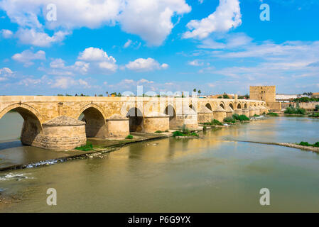 Cordoba bridge, view of the historic Roman Bridge spanning the Rio Guadalquivir in Cordoba (Cordova) Andalucia, Spain. - Stock Photo