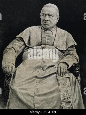 Pius IX (1792-1878). Italian pope, named Giovanni Maria Mastai-Ferretti. Elected in 1846. Convened the First Vatican Council (1869-70). Engraving. - Stock Photo