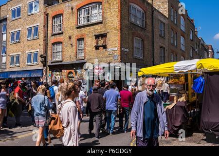 Brick Lane street scene, Borough of Tower Hamlets, London, England, U.K. - Stock Photo