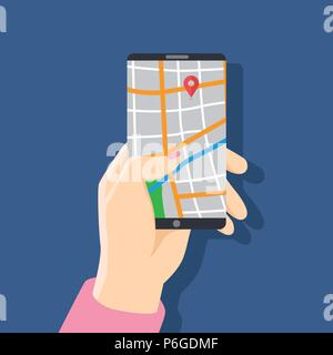 Business woman holding phone with map and with gps navigation for tracking concept.  for web sites, banners. Location track app on touch screen smartp - Stock Photo