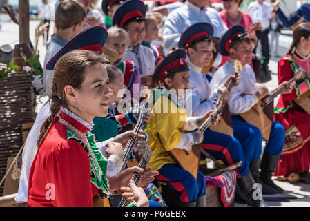 ROSTOV-ON-DON, RUSSIA - JUNE 17, 2018: Cossack show at the airport on match day - Stock Photo