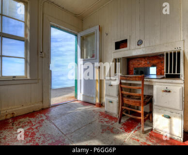 Lighthouse keeper's room at the Point Reyes Lighthouse at Point Reyes National Seashore near Iverness, California - Stock Photo