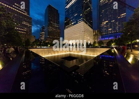 9/11 Memorial. World Trade Center. New York City, U.S.A. - Stock Photo