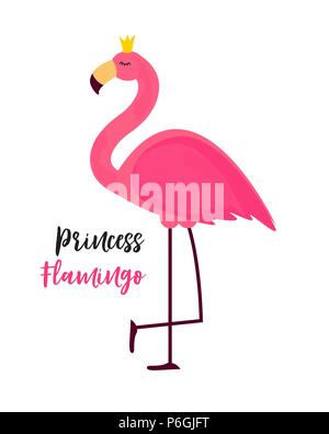 Cute Little Princess Abstract  Background with Pink Flamingo Vector Illustration - Stock Photo