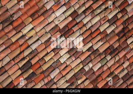Terracotta Tiled Roof, Riva del Garda, Lake Garda, Italy - Stock Photo
