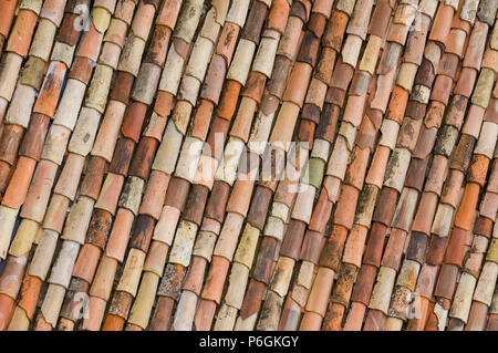 Terracotta Tiled Roof, Riva del Garda, Lake Garda, Italy - Stock Photo