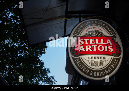 BELGRADE, SERBIA - JUNE 23, 2018: Logo of Stella Artois on a bar sign with its distinctive visual. Stella Artois is a Belgian light pilsner beer produ - Stock Photo