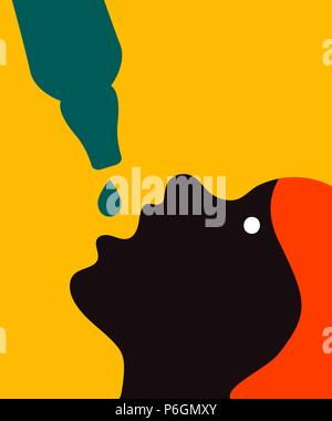 Woman drinking beer, girl with bottle, female alcoholism, alcoholic drinking vodka. Vector art - Stock Photo
