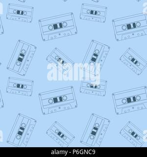 Audio tape cassette. Blue seamless pattern - Stock Photo