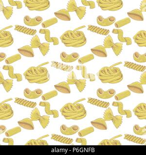 Pasta collection. Colored hand drawn sketch. Seamless pattern - Stock Photo