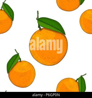 Oranges as seamless pattern. Hand drawn colored sketch - Stock Photo