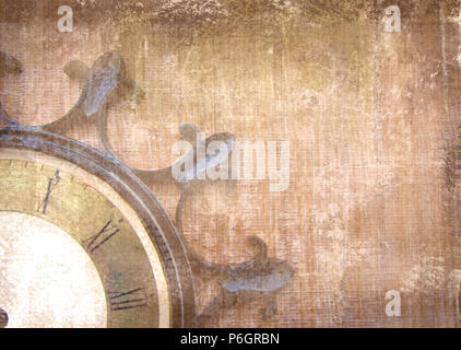 Fragment of the old vintage wall clock with roman numbers on a grunge background. Abstract composition for your design. Brown illustration of part clo - Stock Photo