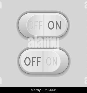 Toggle switch buttons. On and Off 3d gray push icons - Stock Photo