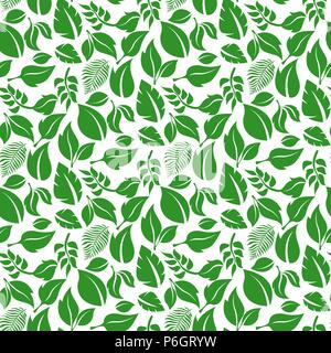Green leaves pattern. Seamless background - Stock Photo