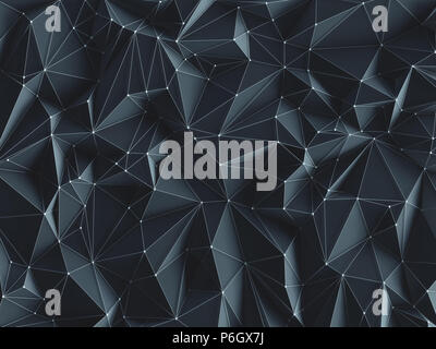 3D illustration. Abstract background image, connections in lines and geometric triangular shapes.