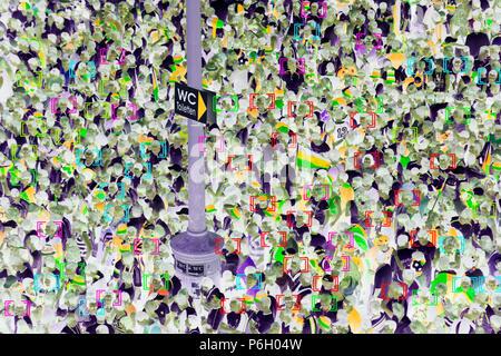 Face detection, surveillance, camera image, face tracking, symbolic image, - Stock Photo