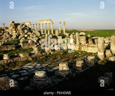 Syria. Apamea or Apameia (Afamia). It was an ancient Greek and Roman city. Ruins of the Temple of Zeus Belos with Great colonnade in the background. Photo taken before Syrian Civil War. - Stock Photo