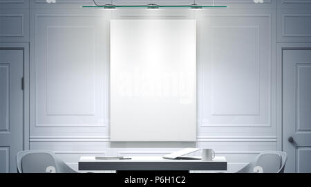 White office interior with blank poster mockup on the wall, 3d rendering. Bright empty work meeting room vertical canvas mock up, desk, two chairs. Clear banner in light work place front view. - Stock Photo