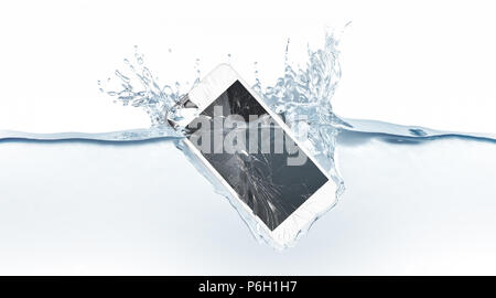 White broken smartphone mock up sinks in water, 3d rendering. Mobile smart phone with touch screen mockup fall under liquid surface. Electronic waterproof cellphone falling and dive with splashes. - Stock Photo