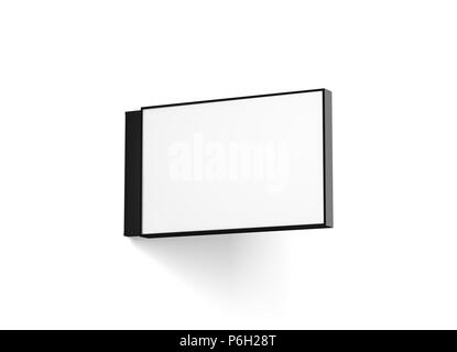 Blank horizontal store signage design mockup isolated, 3d rendering. Empty rectangular light box mock up. Clear shop lightbox template. Street sign hanging, mounted on the wall. Signplate. - Stock Photo