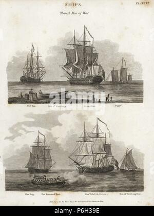 British Men of War, 18th century: first rate, man of war's barge, seventy four (74 guns) and lugger (top), fire brig, flat-bottomed boat, gun vessel (The Wolverine) and man of war's long boat (below). Copperplate engraving by Wilson Lowry after an illustration by J. Farey from Abraham Rees' 'Cyclopedia or Universal Dictionary,' London, 1802. - Stock Photo