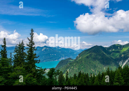 View from a top of a mountain to a lake called Wolfgangsee in Austria with mountains on the background and clouds on the sky and trees in front of - Stock Photo